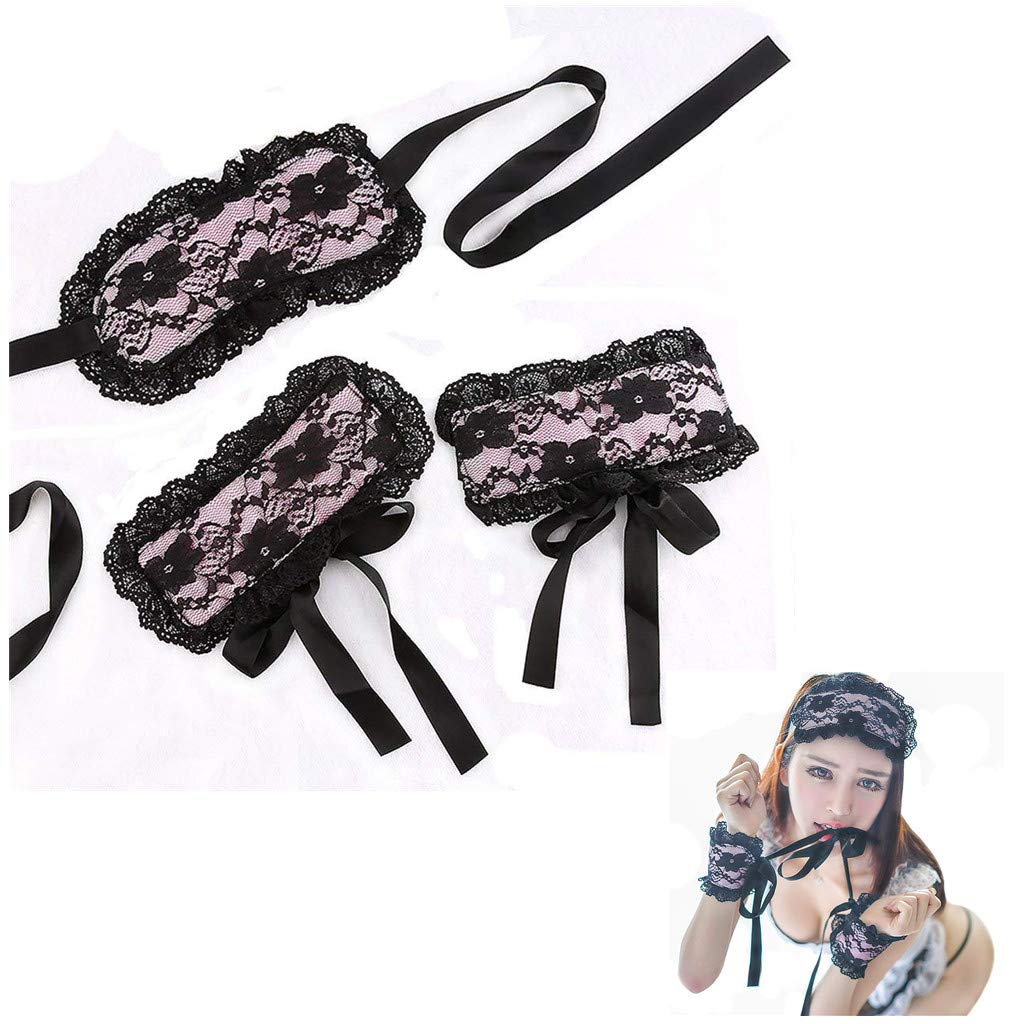 GC-US Lace Goggles and lace Handcuffs Performance Clothing(Black)