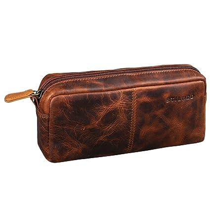 STILORD Spencer Estuche para Lápices Cuero Vintage Bolsa Portatodo para Maquillaje Cartuchera de Genuino Piel, Color:Kara - Cognac