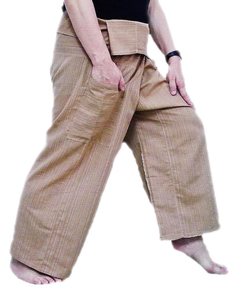 Thai Fisherman Hose Yoga Hosen FREE SIZE Plus Größe Baumwolle Elfenbein Streifen