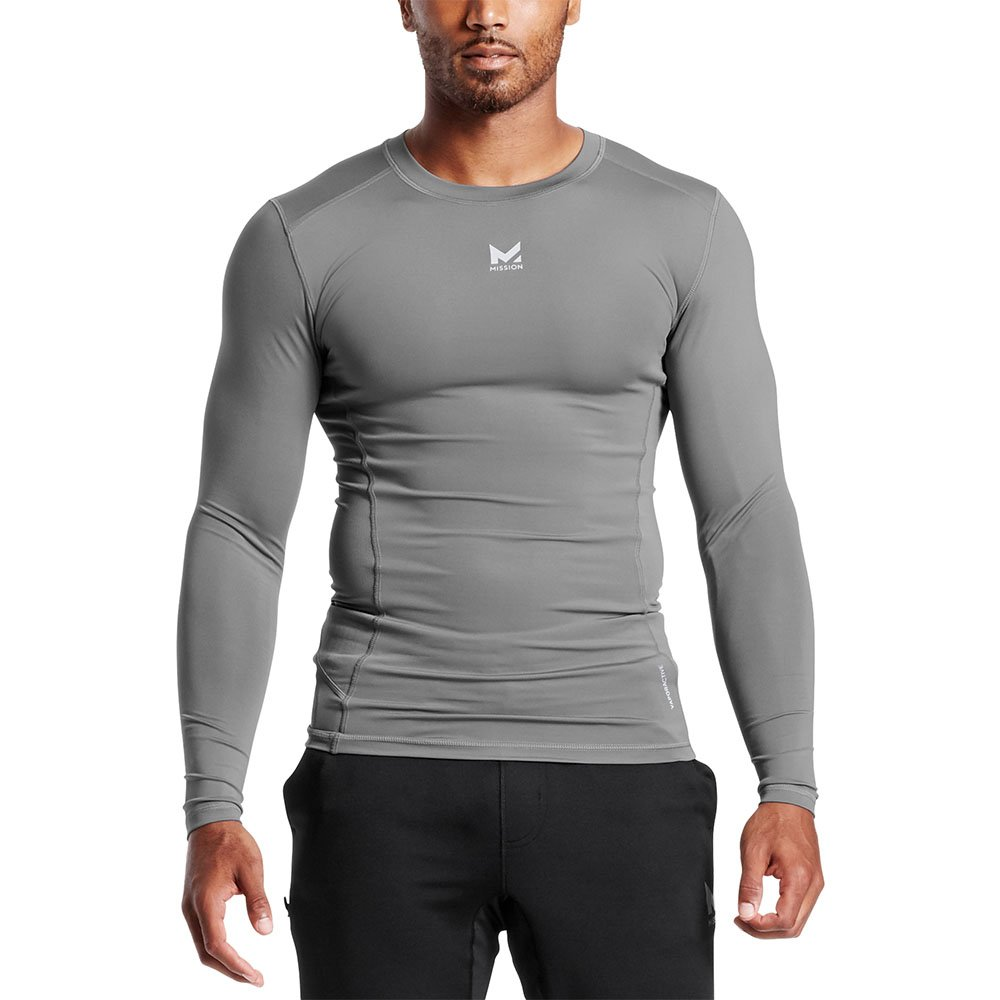 Mission Men's VaporActive Voltage Long Sleeve Compression Shirt, Quiet Shade, Small