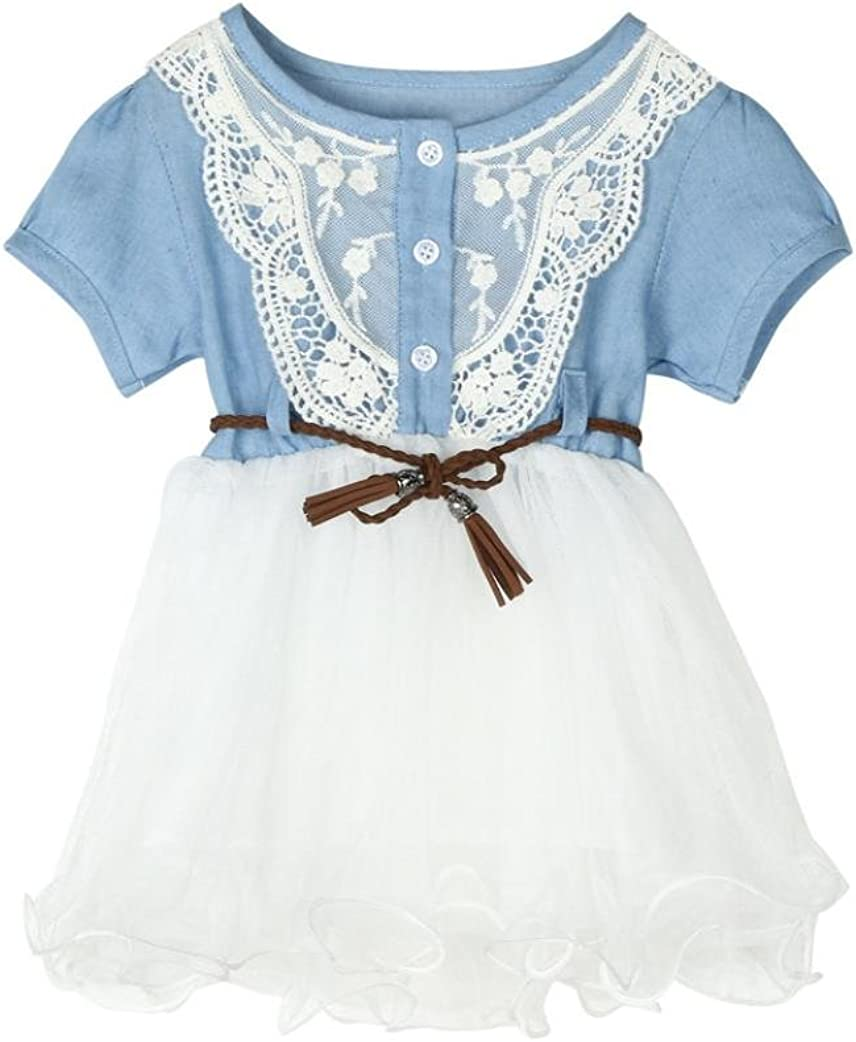 Winsummer Kids Baby Girls Clothes One-Piece Dress Summers Denim Lace Tulle Dresses Overalls with Belt