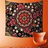 Printsonne Home Decor Tapestry by Indian Spiritual Floral Motif with Middle Eastern Islamic Influences Image Emerald Red Wall Hanging for Bedroom Living Room Dorm