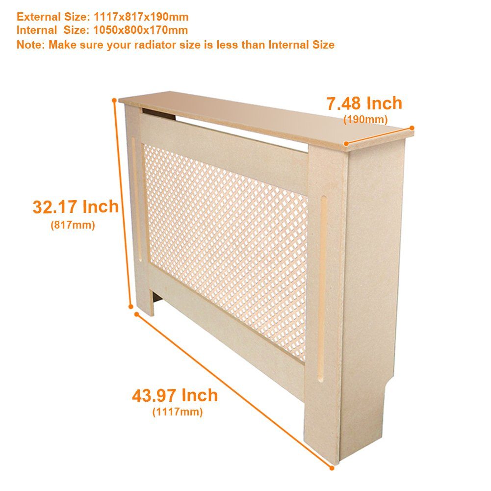 BPS Traditional Radiator Cover Unfinished MDF Natural Cabinet,Medium Size, Diamond Grill Style