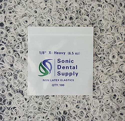 "Sonic Dental - Clear 1/8"" X-Heavy 6.5 oz - Orthodontic Elastic - Braces - Dental Rubber Bands"