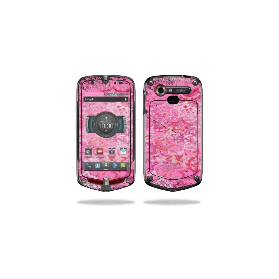 Mightyskins Protective Vinyl Skin Decal Cover for Casio GzOne Commando 4G LTE C811 GZ1 Verizon Cell Phone wrap sticker skins Pink Star