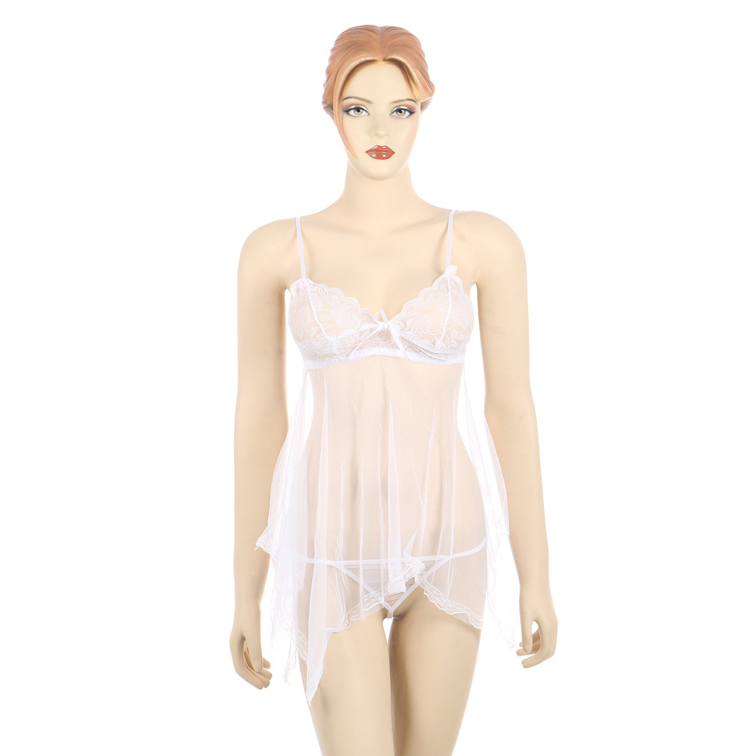 540456f1ac TIMI Latest Sexy White Solid & Patchwork Free Size Women's Babydoll Sexy  Honeymoon Lingerie For Women / Ladies and Girls Nightwear Net Babydoll Dress  ...