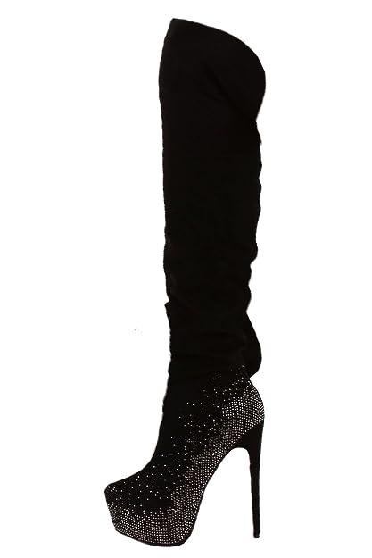 JELA London Damen Overknees Boots, Langschaftstiefel mit Plateau, XXL  Absatz und Strass, 36 efd60ab595