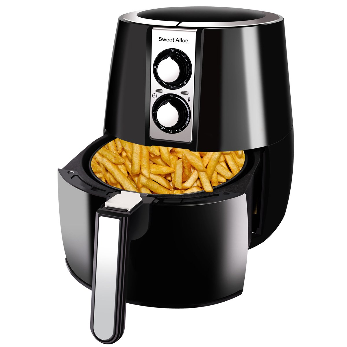 Air Fryer | Sweet Alice Electric Air Fryer 3.4 Quart 1500W | Auto Shut Off Timer & Temperature Control for Health Cooking, Fry, Roast, Baking, Grill