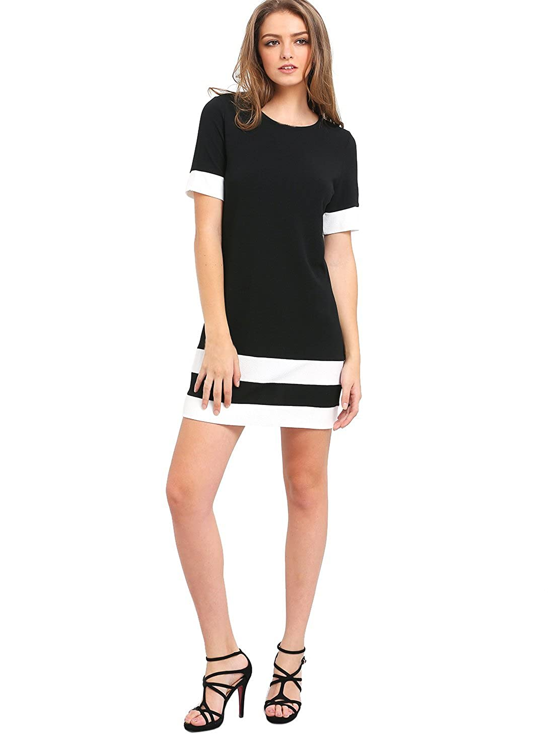 1aa72661e4 SheIn Women's Patchwork Short Sleeve Shift Tunic Dress at Amazon Women's  Clothing store:
