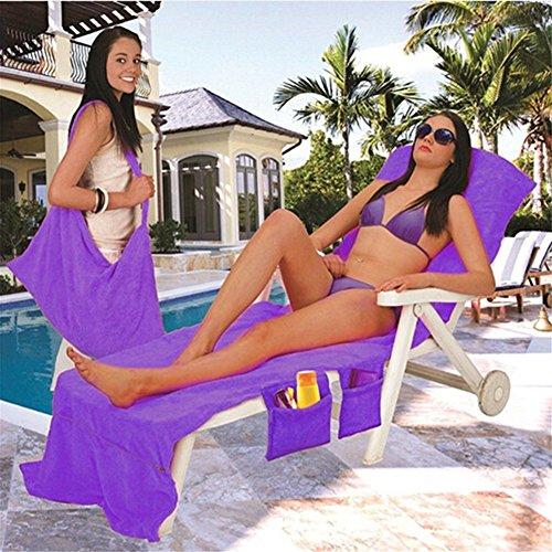Blackblume Microfiber Fiber Sunbath Lounger Bed Mate Chair Cover Beach Towel 30