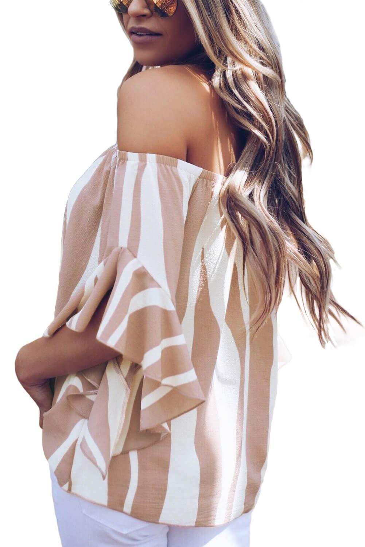 KISSMODA damklocka ärm toppar kall axelrem knut randiga skjortor blusar 01-Rosa