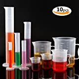 Plastic Graduated Cylinders& Plastic Beakers,Teenitor 5pcs Plastic Graduated Cylinders 10ml 25ml 50ml 100ml 250ml & 5pcs Plastic Beakers 50ml 100ml 250ml 500ml1000ml Clear 10pcs