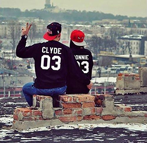 Set Noir Homme JWBBU Longues et Pullover Noir Pieces Couple pour Clyde Pull Manches des Femme 2 Hoodies Impression Paire et Bonnie 8qIrUxgqw