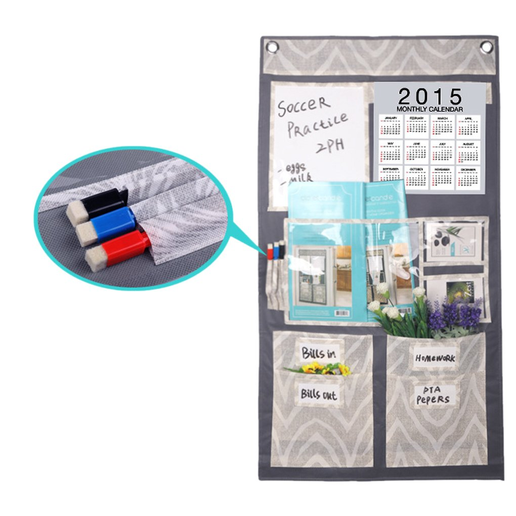 BXT Creative Multi Pockets Over The Door/Wall/Closet Hanging Storage Organizer Tidy Rack Bag with Monthly Calender Memo Board CD Magazine Mail Holder Home Organizer,Free 2 Hooks+3 Erase Marker Pens
