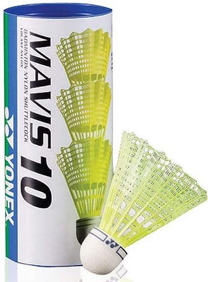 Yellow Medium Speed Tube of 6 Yonex Mavis 10 Nylon Badminton Shuttles