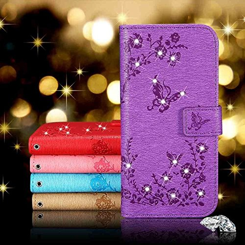 Price comparison product image Zhchl Cases for IPhone X 8 8plus Elegant Butterfies Blossom Embossed Pattern Luxury Bling Diamond PU Leather Flip Cover for IPhoneSamsung Galaxy Huawei Purple iPhone 8 Plus