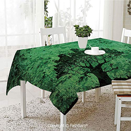 Premium Waterproof Table Cover City Composition Buildings Houses Town on Tree Branches Creative Monochromic Art Washable Table Protectors for Family Dinners(W60 xL84) -