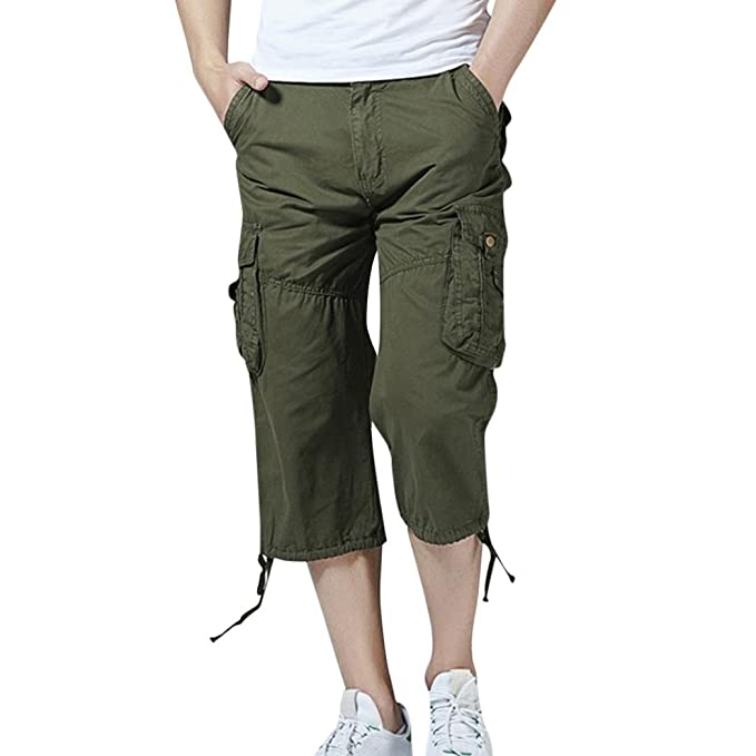d9d1172a6f Pervobs Mens Pants, Clearance! Men's Casual Lose Solid Pockets Beach Sports  Outdoors Work Trouser