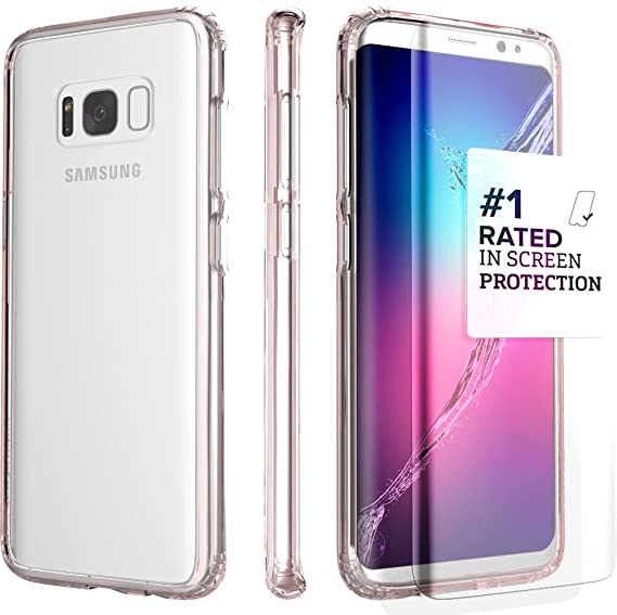 brand new a839f 09a3f Galaxy S8 Plus Case SaharaCase Protective Kit Bundle with (Curved Tempered  Glass Screen Protector) [Hard PC Back] Slim Fit Anti-Slip Grip - Rose Gold  ...