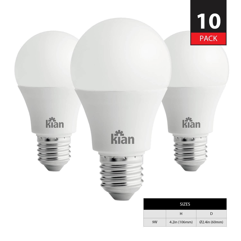 KIAN A19 調光機能付きLED電球 9W (60W相当) エネルギースター認定 2700K (ウォームホワイト) 800ルーメン ベース(E26) 10個パック   B07MX7WDSL