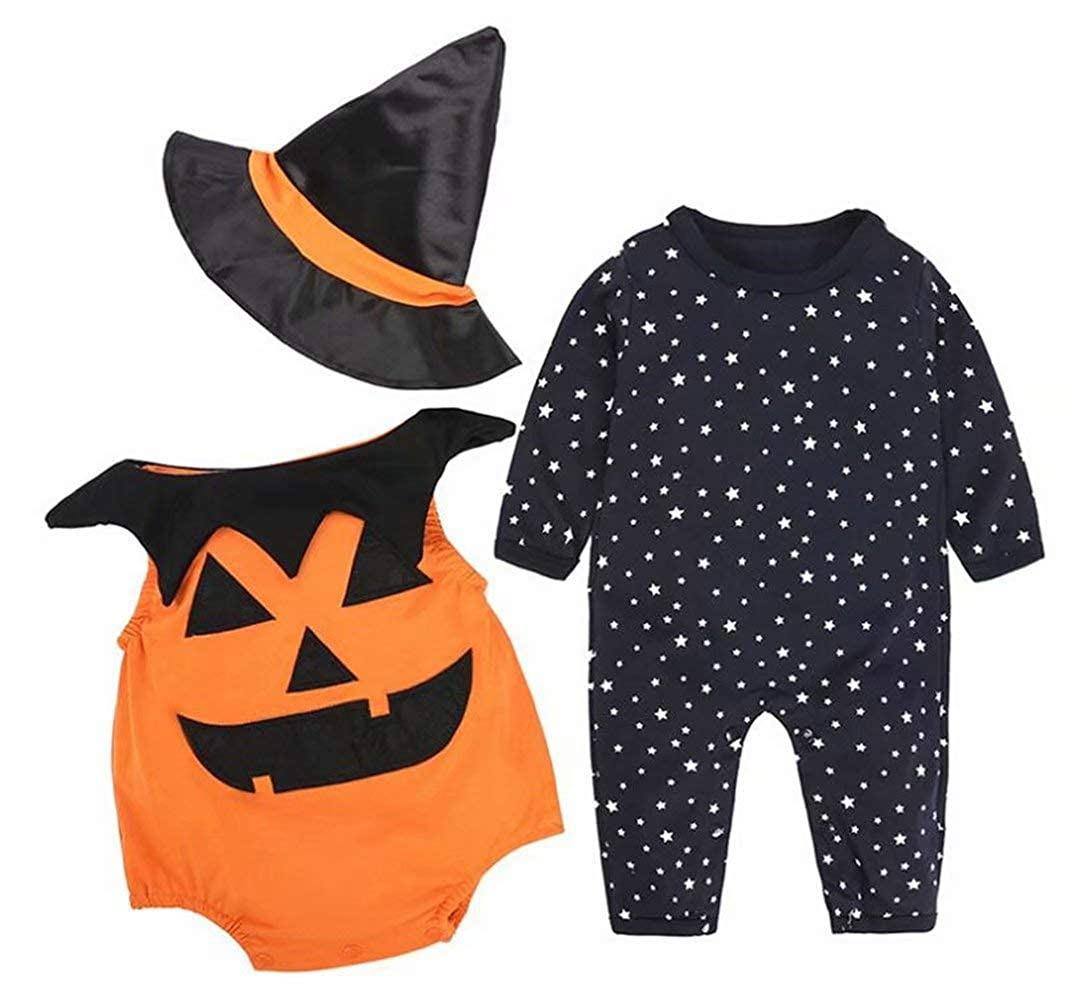 SUPEYA Toddler Baby Halloween Long Sleeve Rompers Outfits Pumpkin Print 3Pcs Set