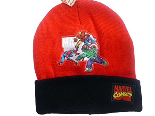 1c8932f1d83 Image Unavailable. Image not available for. Color  Official Licensed  Genuine SuperHeroes Red   Black Marvel Comics Beanie Hat  THe Hulk ...