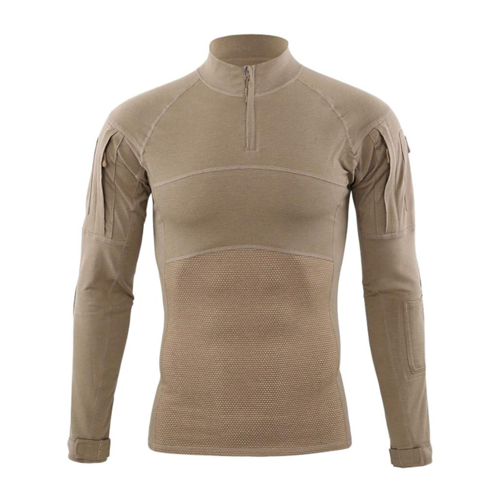 Briskorry Men Autumn Winter Muscle Tactical Long Sleeve Elastic Quick Dry Training T-Shirts Tops Blouses Khaki by Briskorry