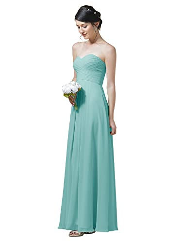 AWEI BRIDAL Long Bridesmaid Dresses for Women Ruched Chiffon Evening Prom Dress