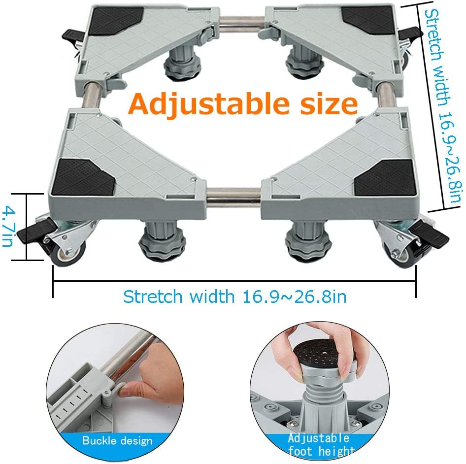 4 feet 8wheels Multi-Functional Furniture Dolly Roller Base Adjustable Movable Base Refrigerator Stand for Washing Machine Refrigerator and Dryer