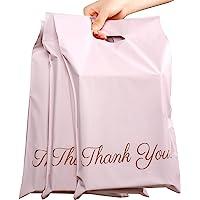 """60 verzendzakken, champagneroze, plastic verzendtassen 250 x 350 mm, draagbare poly-plastic zak met gouden """"Thank You…"""