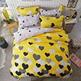Wusan Girls Bedding Duvet Cover Sets Queen Hypoallergenic Cotton Love Printed 3 Pieces Kids Adults Duvet Quilt Cover Full Yellow Grey Reversible Lightweight Bedding Collections