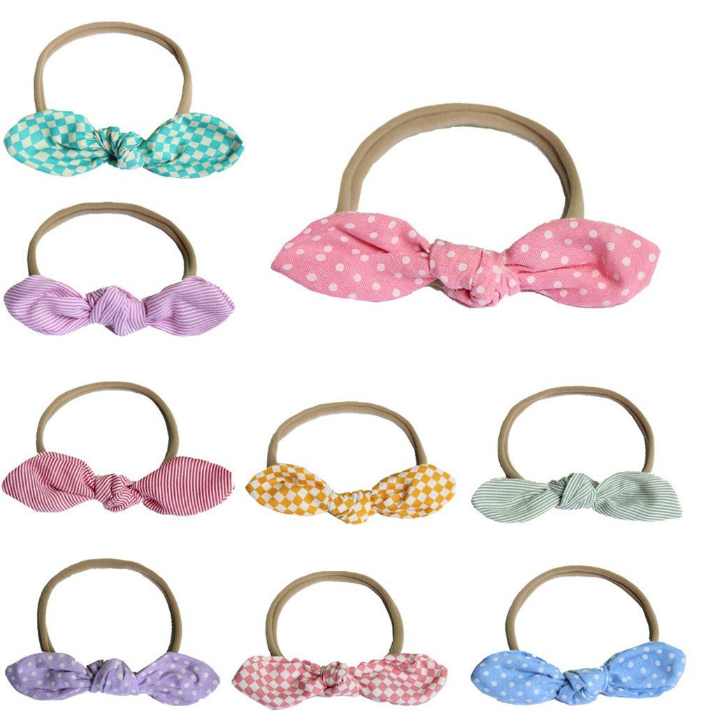 BrilliantDay 9pcs Bambino fascia Fasce di fiore della neonata Cerchietto elastico Accessori per capelli a fiori morbida Turbante della fascia dei capelli puntelli pro foto