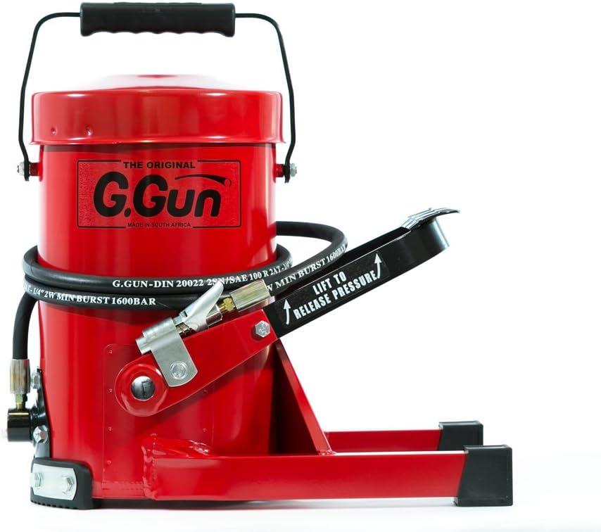 G.GUN Pistola Engrasadora - Engrase Rápido y Fácil. Salida 690 bar. Manos Libres y Válvula de Seguridad. Sin Ensuciar ni Desperdicio. Con G.COUPLER y Manguera Hidráulica de 2m. Diseño Robusto
