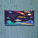 Nalahome Swim Towel Cosmos Universe Themed Solar System Stardust Comet UFO Planetary Illustration Multicolor Super Soft L39.4 x W9.8 inch