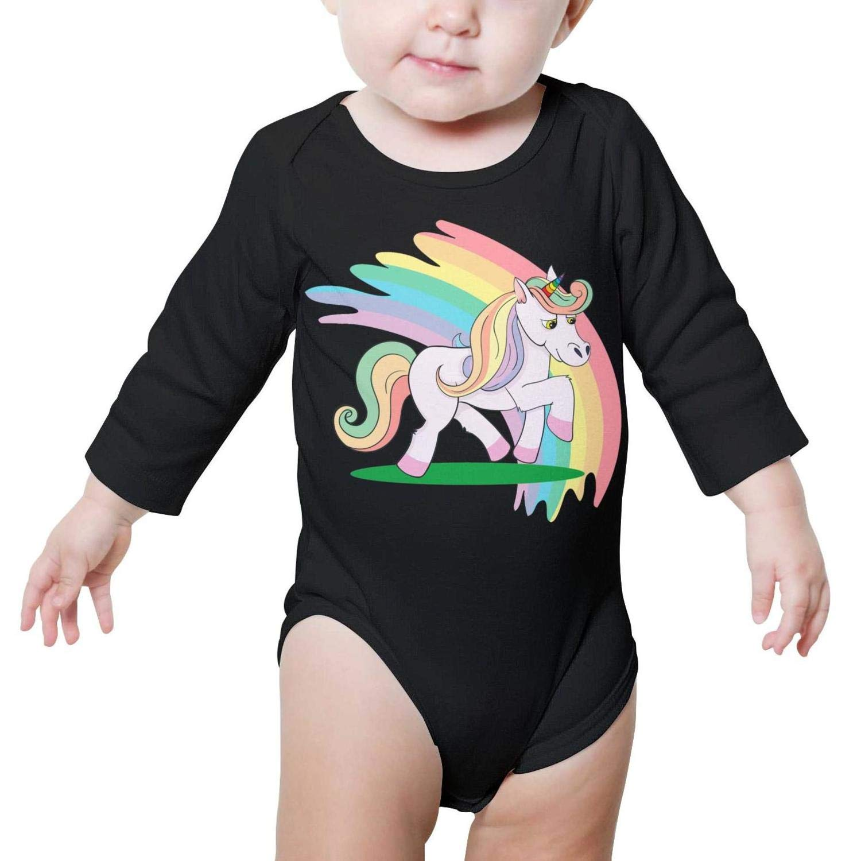 Cute Rainbow Unicorn Long Sleeve Organic Baby Onesie Romper Funny for Boys Girls