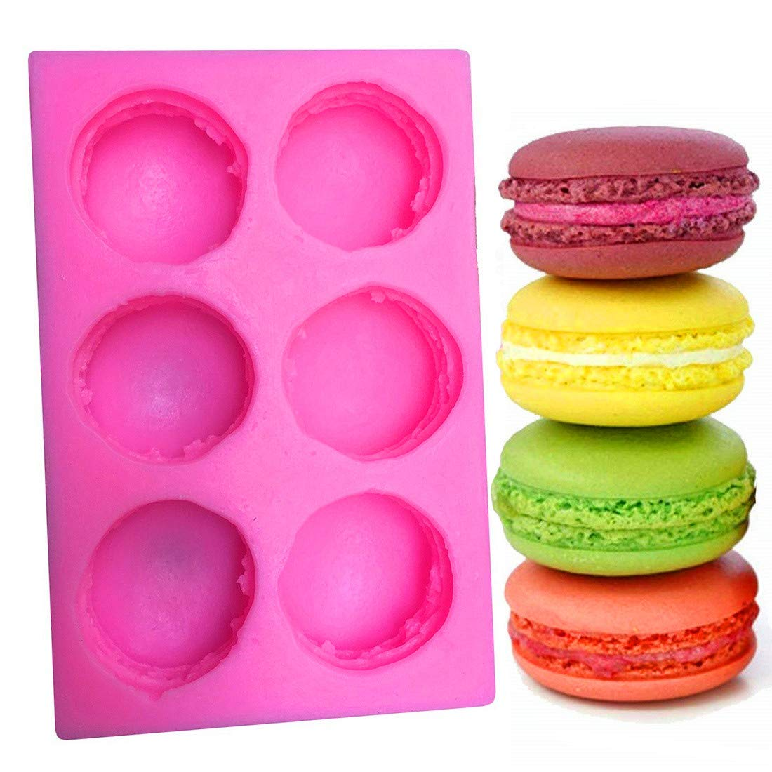 BUSOHA 3D Macaroon Silicone Mold for Fondant, Macaron Hamburger Baking Molds, Candle Mold, Muffin Molds, Cake/Cupcake Decorating, Chocolate, Candy, Polymer Clay, Mini Soap, Bath Bomb …