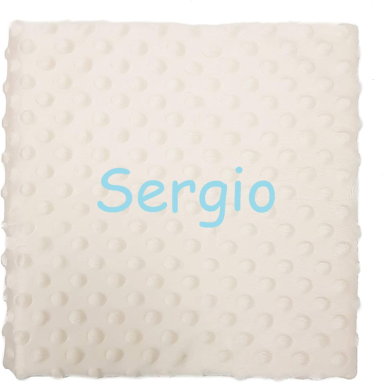 Manta bebe personalizada con nombre bordado. Medidas 80x110 cm. Tacto terciopelo (Beige)