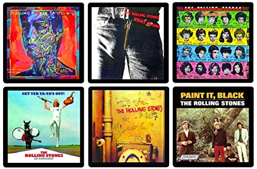 Rolling Stones Coaster Gift Collection - (6) Different Album Covers Reproduced Onto Absorbent, Soft, Drink Coasters