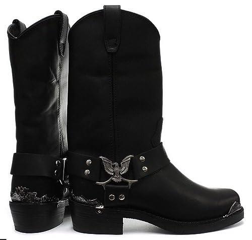 f69f5f3aab72 Grinders Mens Real Leather Hi Biker Boots Rock Punk Eagle Buckle Metal Toe   Amazon.co.uk  Shoes   Bags
