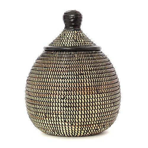 Swahili Modern Black Gourd Basket with Leather (Gourd Basket)