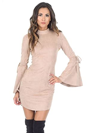 0fdc0678a0e4 AX Paris Women's Faux Suede Flared Sleeve Dress at Amazon Women's Clothing  store:
