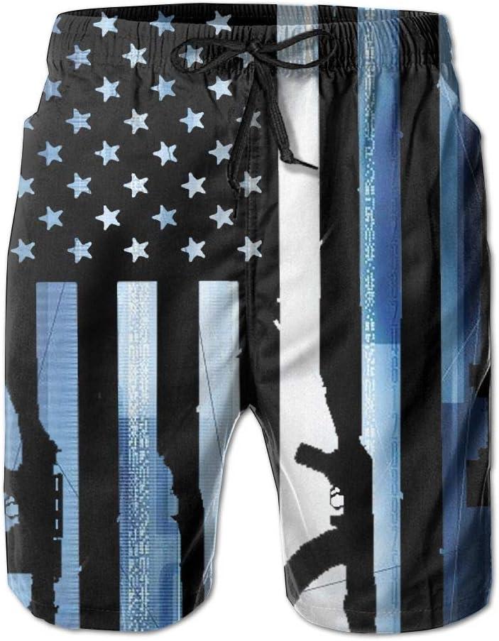 Skull Blue Flame Men Shorts Polyester Elastic Colorful Not Fade Beach Shorts Men Shorts