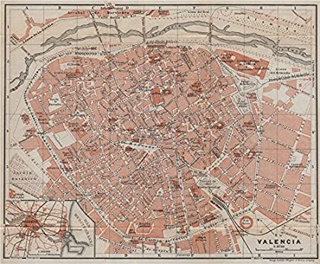 Valencia Antiguo Town City Ciudad Plan. España Mapa. Baedeker ...