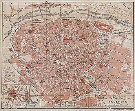 Valencia Antiguo Town City Ciudad Plan. España Mapa. Baedeker – 1913 – Old Antique Vintage Map – Juego de funda nórdica S de mapa de España: Amazon.es: Hogar