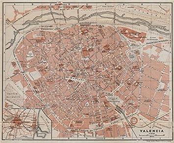 Mapa De La Ciudad De Valencia España.Amazon Com Valencia Antique Town City Ciudad Plan Spain