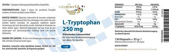 L-Triptófano 250mg 120 Cápsulas Vegetales - Vita World Farmacia Alemania: Amazon.es: Salud y cuidado personal
