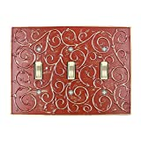 Meriville French Scroll 3 Toggle Wallplate, Triple Switch Electrical Cover Plate, Parisian Red with Gold