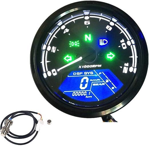 Kkmoon Motorrad Tacho Lcd Digital Display 0 12000 Rpm Drehzahlmesser Kilometerzähler Tachometer Auto