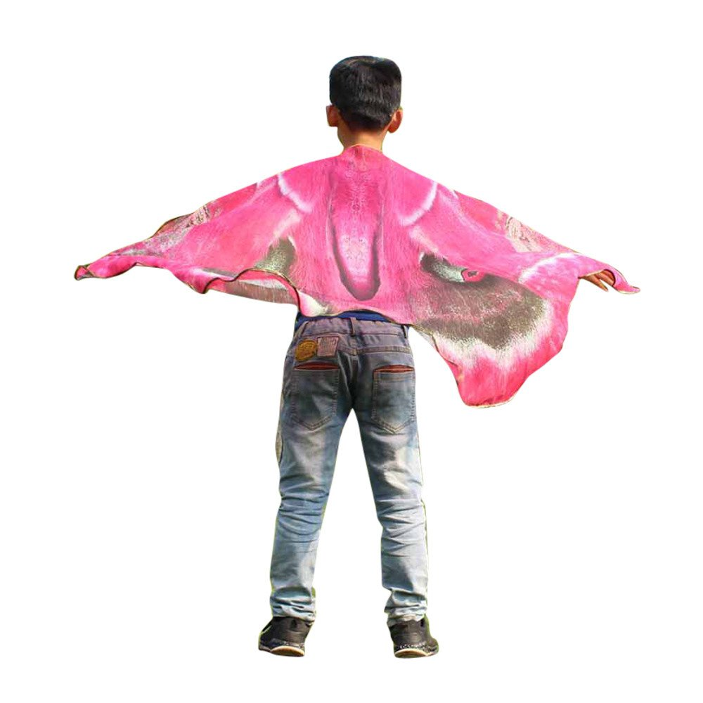 Scaling Beach Cover up Kids Boys Girls Bohemian Butterfly Print Shawl Pashmina Costume Accessory Outdoor Scarf Hot Pink