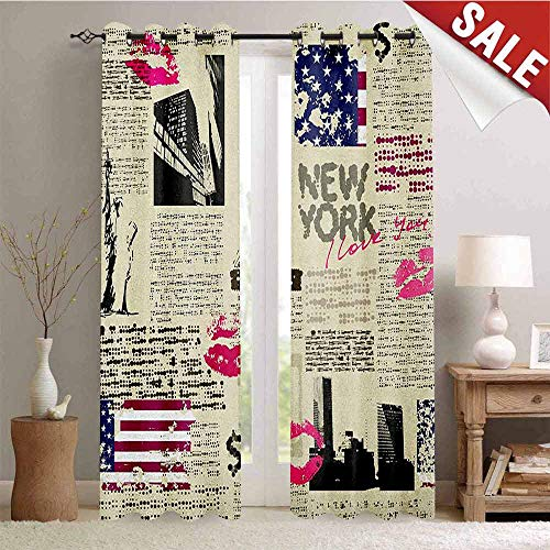 Flyerer United States, Decorative Curtains for Living Room, Newspaper New York with Sketchy Statue of Liberty and Texts Lipstick Vintage, Waterproof Window Curtain, W72 x L96 Inch Multicolor ()